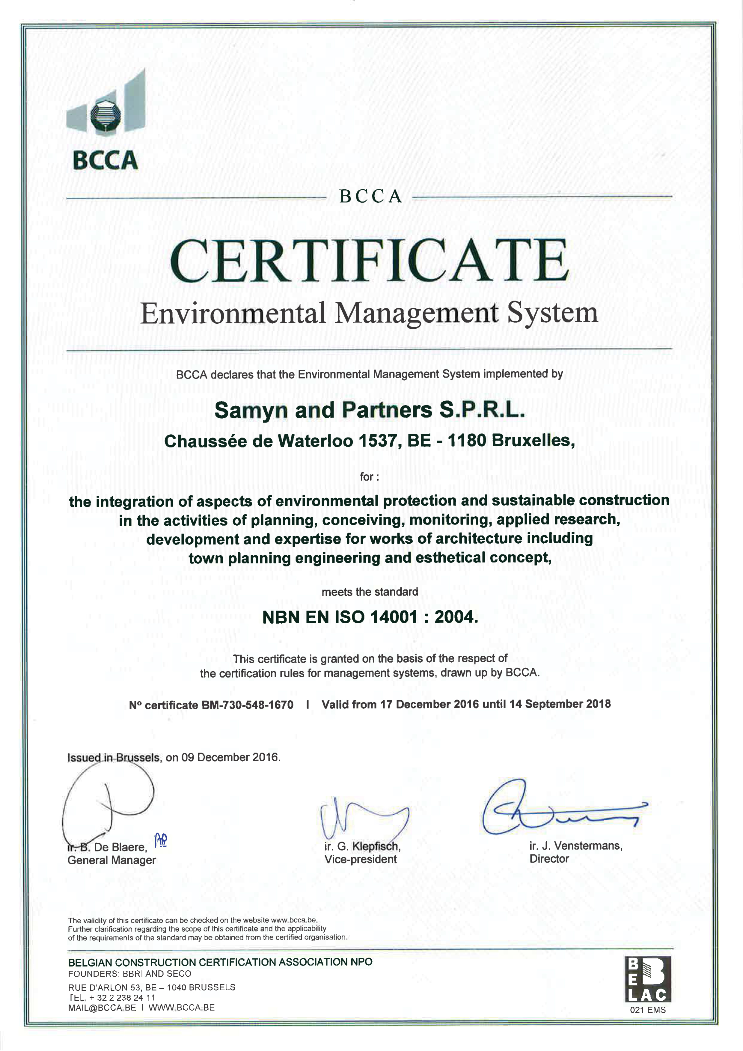 Certification Samyn And Partners